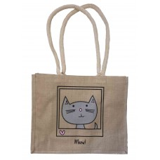 LIMITED STOCK Slightly Impurrfect 'Meow!' Jute Shopper Bag WAS £6.99 + p&p NOW £5.95 INCL p&p