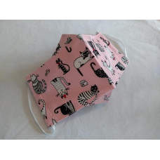 Double-Layered Handmade Cotton Face Mask - 3D Design - Black Cats On Pink