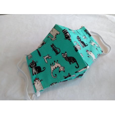 z.disabled Double-Layered Handmade Cotton Face Mask - 3D Design - Cats On Jade Green