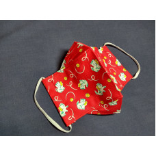 Double-Layered Handmade Cotton Face Mask - 3D Design - Red Cat