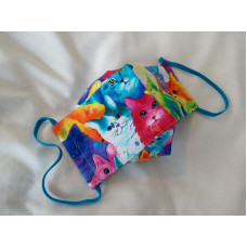Double-Layered Handmade Cotton Face Mask - 3D Design - Multi-coloured Cat