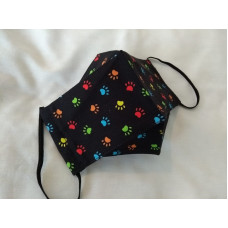 Double-Layered Handmade Cotton Face Mask - 3D Design - Multi-coloured Paws