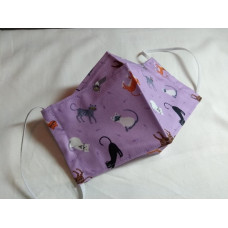 z.disabled Double-Layered Handmade Cotton Face Mask - 3D Design - Cats On Lilac