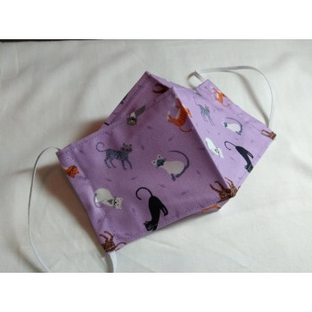 Double-Layered Handmade Cotton Face Mask - 3D Design - Cats On Lilac