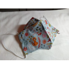 Double-Layered Handmade Cotton Face Mask - 3D Design - Cats & Floral On Aqua