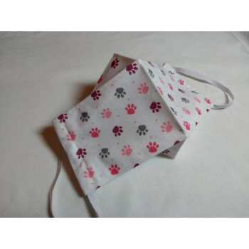 Double-Layered Handmade Cotton Face Mask - 3D Design - Pink/Grey Paws On White