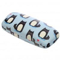NEW: Sunglasses Case - Feline Fine Cat Design - Black Cat On Blue