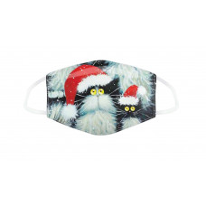 SALE:  REDUCED TO £3 - Kim Haskins Black & White Cats Face Mask - Large