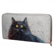 NEW: Kim Haskins Cat Zip Around Large Wallet Purse