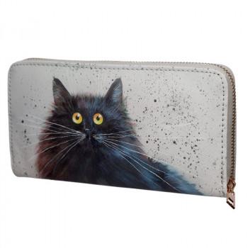 NEW: Kim Haskins Cat Zip Around Large Wallet Purse