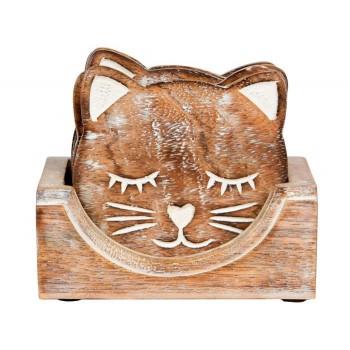Wooden Cat Coasters
