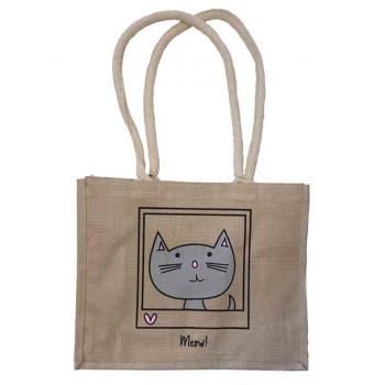 CHAT 'Meow!' Jute Shopper Bag