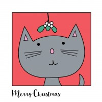 Grey Cat Christmas Cards 10 Pack (5 of Each Design)